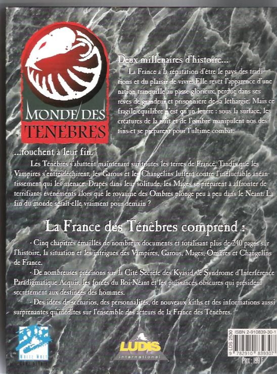 Monde des tenebres - France 4e de couv